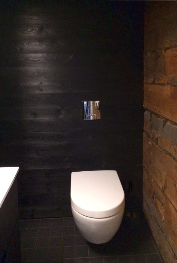 Laajennuksen wc:tä ja vanhan osan hirsiseinää.